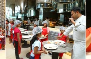 Kids Baking Pizzas at JWMarriott Kolkata